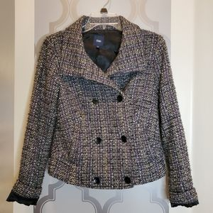 Gap Gray White Plaid Knit Blazer XS /S